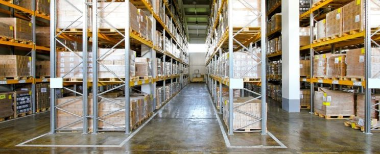 9095338 - boxes in modern logistic distribution warehouse interior
