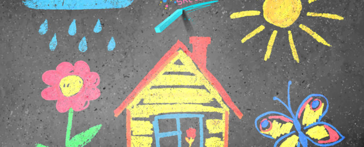 38329287 - chalked kids drawing on asphalt background.